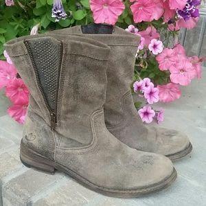 Felmini zipper side boots women's distressed
